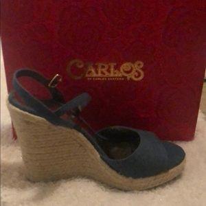 Carlos brand New 8.5 Denim Wedges